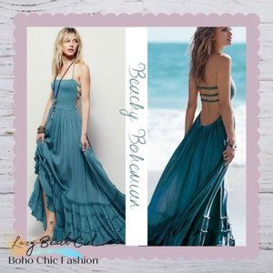 *1 Left* Strapless Lace-up Ruffle Maxi Swing Dress
